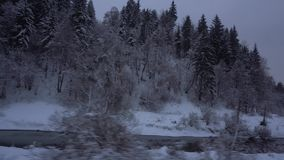 Déplacement par les bois neigeux de train avec la rivière banque de vidéos