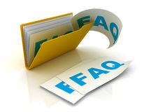 Dépliant avec des papiers de FAQ Photographie stock