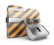 Dépliant avec le blocage. Protection des données. graphisme 3D Photos stock