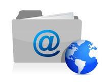 Dépliant d'email et monde de transmission Image stock