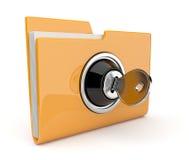 Dépliant et blocage jaunes. Concept de protection des données. 3D Images libres de droits