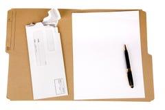 Dépliant et courrier de fichier Photographie stock