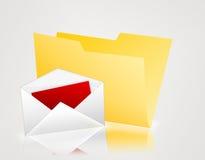 Dépliant jaune avec l'enveloppe Photos libres de droits