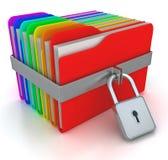 Dépliants colorés d'ordinateur avec le cadenas. image 3d Images stock