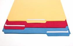 Dépliants de fichier colorés Photos libres de droits