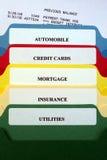 Dépliants de fichier des factures personnelles Photos libres de droits