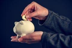 Déposer une euro pièce de monnaie dans la banque de pièce de monnaie porcine Image libre de droits