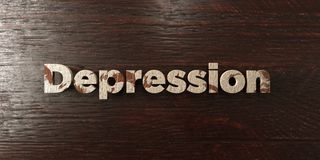 Dépression - titre en bois sale sur l'érable - image courante gratuite de redevance rendue par 3D Photo stock