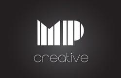 député britannique M P Letter Logo Design With White et lignes noires Images libres de droits