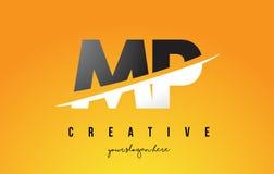 député britannique M P Letter Modern Logo Design avec le fond jaune et le Swoo illustration libre de droits