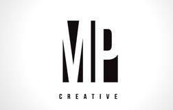 député britannique M P White Letter Logo Design avec la place noire Photographie stock libre de droits
