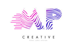 député britannique M P Zebra Lines Letter Logo Design avec des couleurs magenta Photo stock