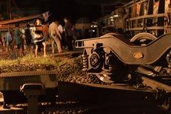 Déraillement de train dans Nakhon Ratchasima, Thaïlande 10/7/2017 image libre de droits