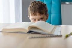 Dérangez 8 années de garçon faisant son travail à la table Photographie stock libre de droits
