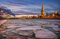 Dérive de glace d'hiver Photographie stock libre de droits