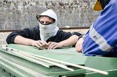 Désaccords entre les mineurs et l'anti police d'émeute Photographie stock
