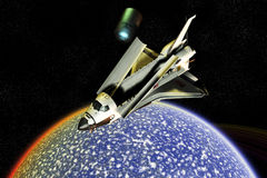 Désastre d'exploration de navette spatiale Photo stock