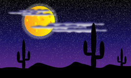 Désert avec des centrales de cactus la nuit illustration stock