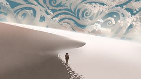 Désert blanc avec des nuages d'imagination illustration de vecteur
