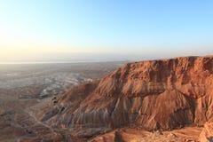 Désert de Judaean et mer morte de Masada Photographie stock libre de droits