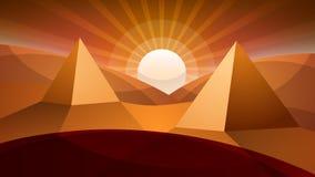 Désert de Judean Pyramide et soleil Image libre de droits