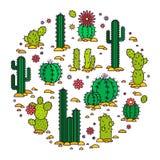 désert fuerteventura Espagne de cactus Illustration Éléments de vecteur d'un logo d'entreprise illustration stock
