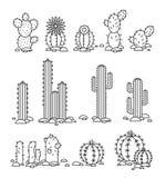 désert fuerteventura Espagne de cactus Objets d'isolement par vecteur d'un logo d'entreprise illustration libre de droits