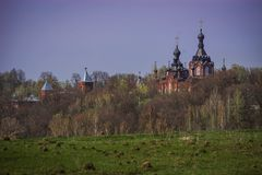 Déserts amvrosiyevsky de Kazan dans la région de Kaluga en Russie images stock