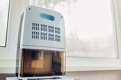 Déshumidificateur avec l'écran tactile, indicateur d'humidité, lampe UV, ionizer d'air, travaux de conteneur de l'eau à côté de f photos stock