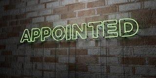 DÉSIGNÉ - Enseigne au néon rougeoyant sur le mur de maçonnerie - 3D a rendu l'illustration courante gratuite de redevance Photographie stock