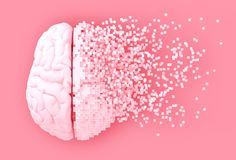 Désintégration de Digital Brain On Pink Background illustration libre de droits