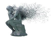 Désintégration de penseur de sculpture en métal de Digital sur le fond blanc images stock