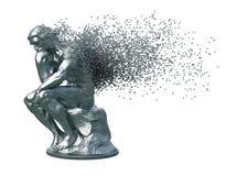 Désintégration de penseur de sculpture en métal sur le fond blanc photo libre de droits