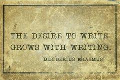 Désir d'écrire Erasmus image stock