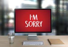 DÉSOLÉ pardonnez à échouer de regret oh là là ! le regret faux Apolo d'erreur de défaut image libre de droits
