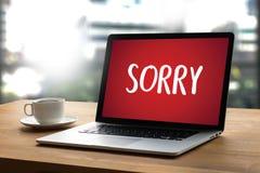 DÉSOLÉ pardonnez à échouer de regret oh là là ! le regret faux Apolo d'erreur de défaut images stock