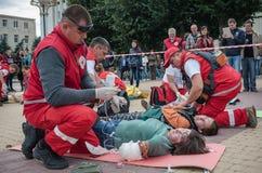 Détachement de formation de la Croix-Rouge Photographie stock libre de droits