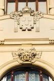 Détail architectonique de maison municipale, Art Nouveau, Prague, République Tchèque, jour d'été ensoleillé photographie stock libre de droits