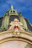 Détail architectonique de maison municipale, Art Nouveau, Prague, République Tchèque, jour d'été ensoleillé images libres de droits
