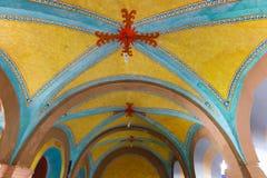 Détail architectural de bâtiment historique dans Bernal, centre historique du Mexique image stock