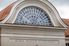 Détail architectural des bâtiments d'université de Vilnius Photo stock