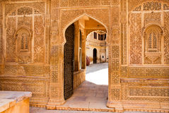 Détail architectural du palais de Mandir, Jaisalmer, Inde Photos stock