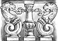 Détail architectural fleuri illustration de vecteur