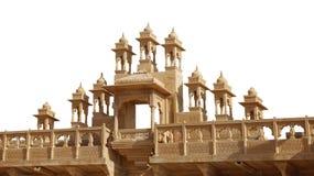 Détail architectural fleuri de fort de Jaisalmer sur Backgroun blanc image libre de droits