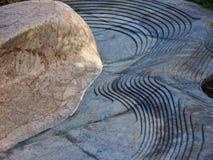 Détail architectural, roche de chaux et roche découpée de basalte photo stock
