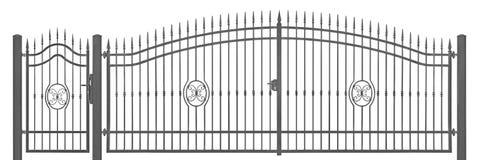 Détail décoratif forgé d'entrée de vintage de porte de manoir de piéton et de transport, grand gris-foncé détaillé horizontal d'i photographie stock