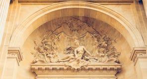 Détail d'architecture de la façade du palais de découverte Images libres de droits
