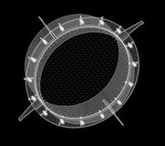 Détail d'ingénierie sur le fond noir photographie stock