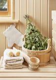 Détail d'intérieur de sauna Photographie stock