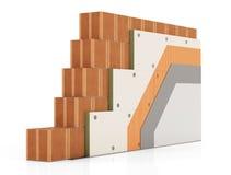Détail d'isolation thermique d'un mur de briques Photo libre de droits
